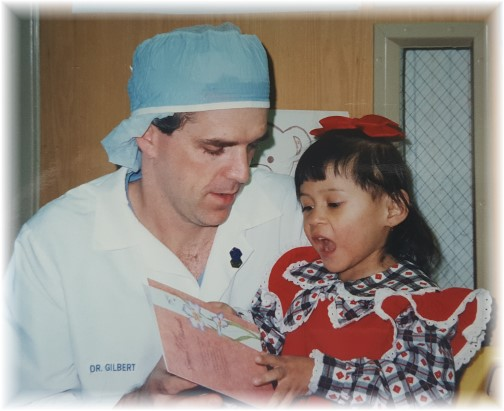 Ester with Dr. Gilbert following surgery in 1992