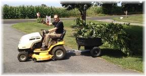 Mike on lawn tractor