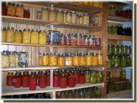 Pantry shelves at the Dourte house