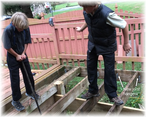 Boys helping with deck 10/1/16