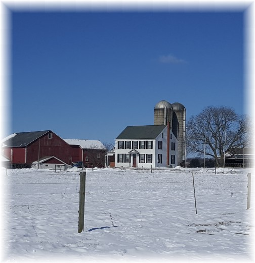 Bossler Road farm in snow, Lancaster County, PA 2/14/16 (Click to enlarge)