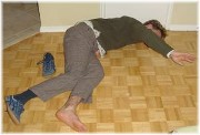 Drunk man on floor