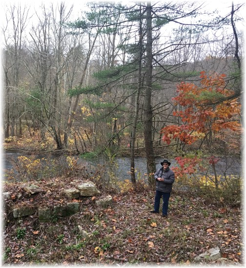Examining Union Canal lock ruins near Swatara Creek 11/7/17