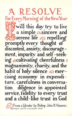 1915 New year's resolution postcard