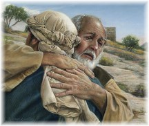 Father embracing prodigal son