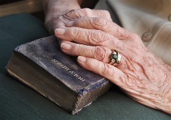 Old hands on Bible