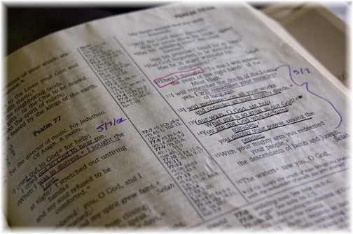 Open Bible with notes