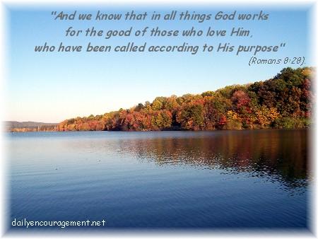 Romans 8:28 with lake scene