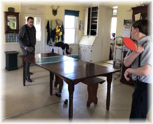 Dining room table tennis at the Lapp family 3/4/18