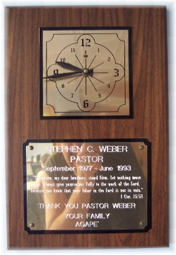Photo of farewell plaque