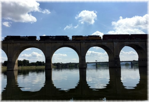 Train crossing Susquehanna River near Harrisburg, PA 8/31/17 (Ester Weber)