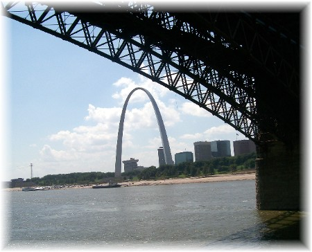 Arch through the Eads Bridge on Mississippi River