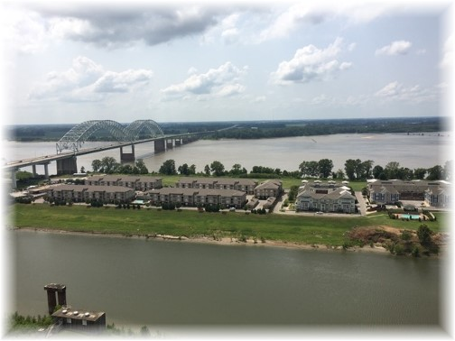 I-40 bridge over the Mississippi River from Memphis Pyramid, Bass Pro Shops 8/8/17