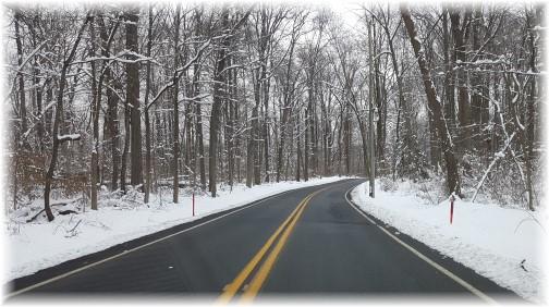 Snowy road in Lebanon County PA 2/10/16