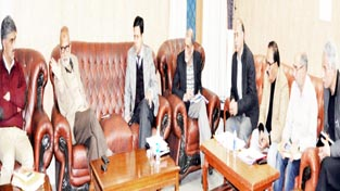 Minister for Public Works, Naeem Akhtar chairing a meeting at Jammu on Friday.