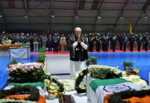 Prime Minister Narendra Modi pays tributes to the martyred CRPF jawans, who lost their lives in Pulwama terror attack at AFS Palam in New Delhi on Friday. (UNI)