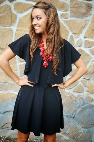 Statement necklace with black dress images
