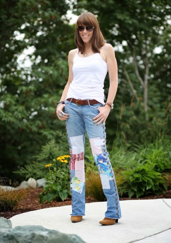 DIY jeans tutorial on how to make your own pair of lace up jeans. Create your own pair of rocker style 70's jeans. I will show you how with step by step instructions.