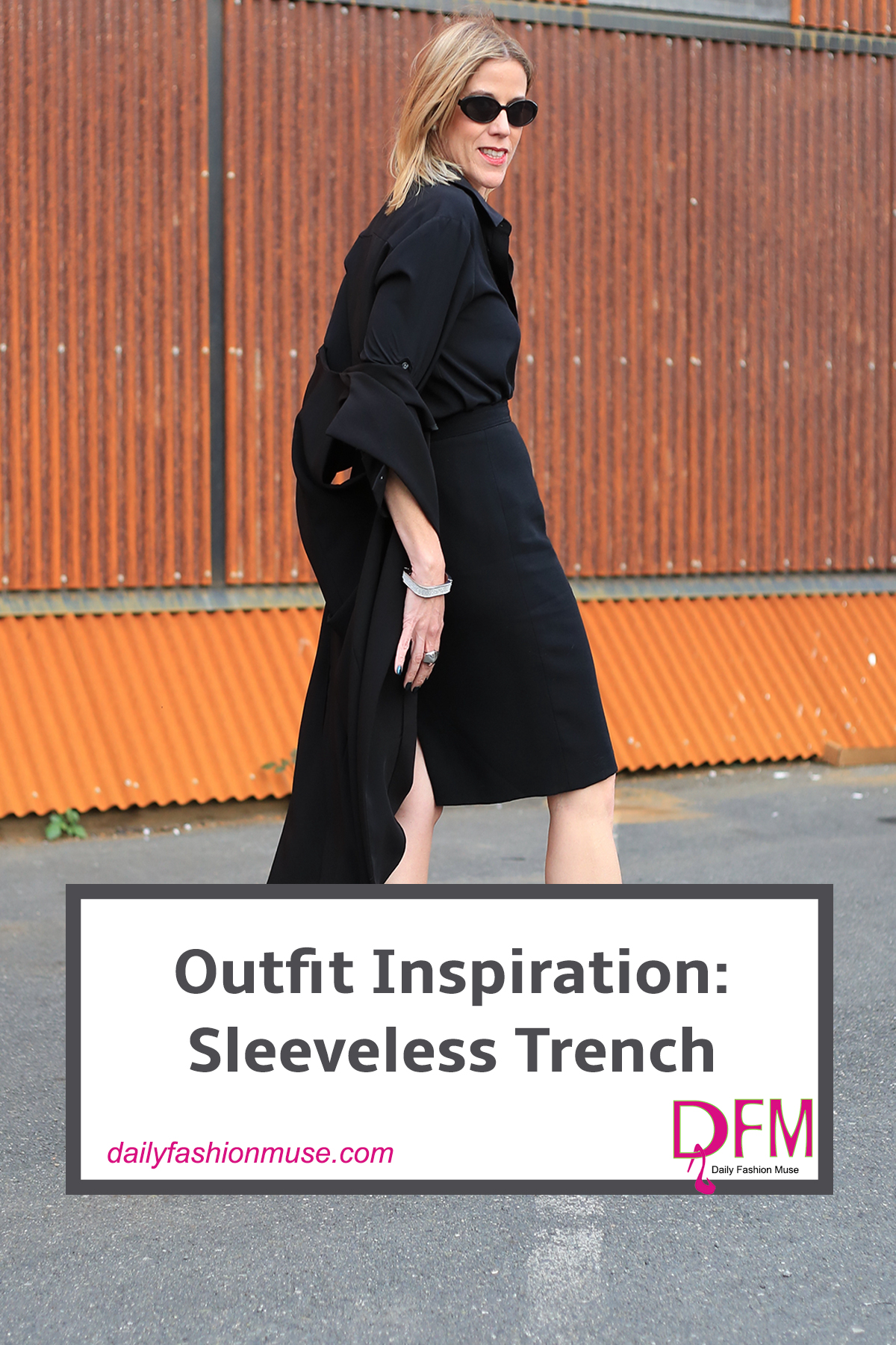 Try a sleeveless trench instead of a blazer with your next outfit. It is unexpected, sophisticated and adds some edginess to your look.