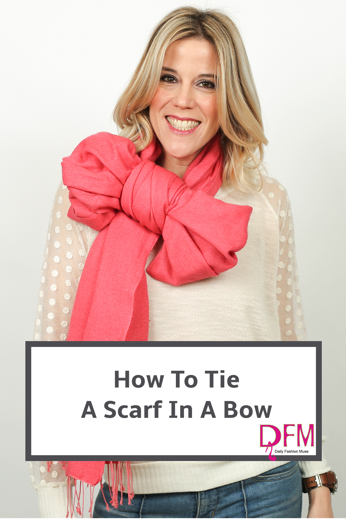 If you are looking for a new way to wear your scarf, click through to watch the video on how to tie your scarf into a bow.