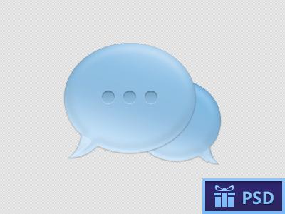Light blue Chat Bubble PSD