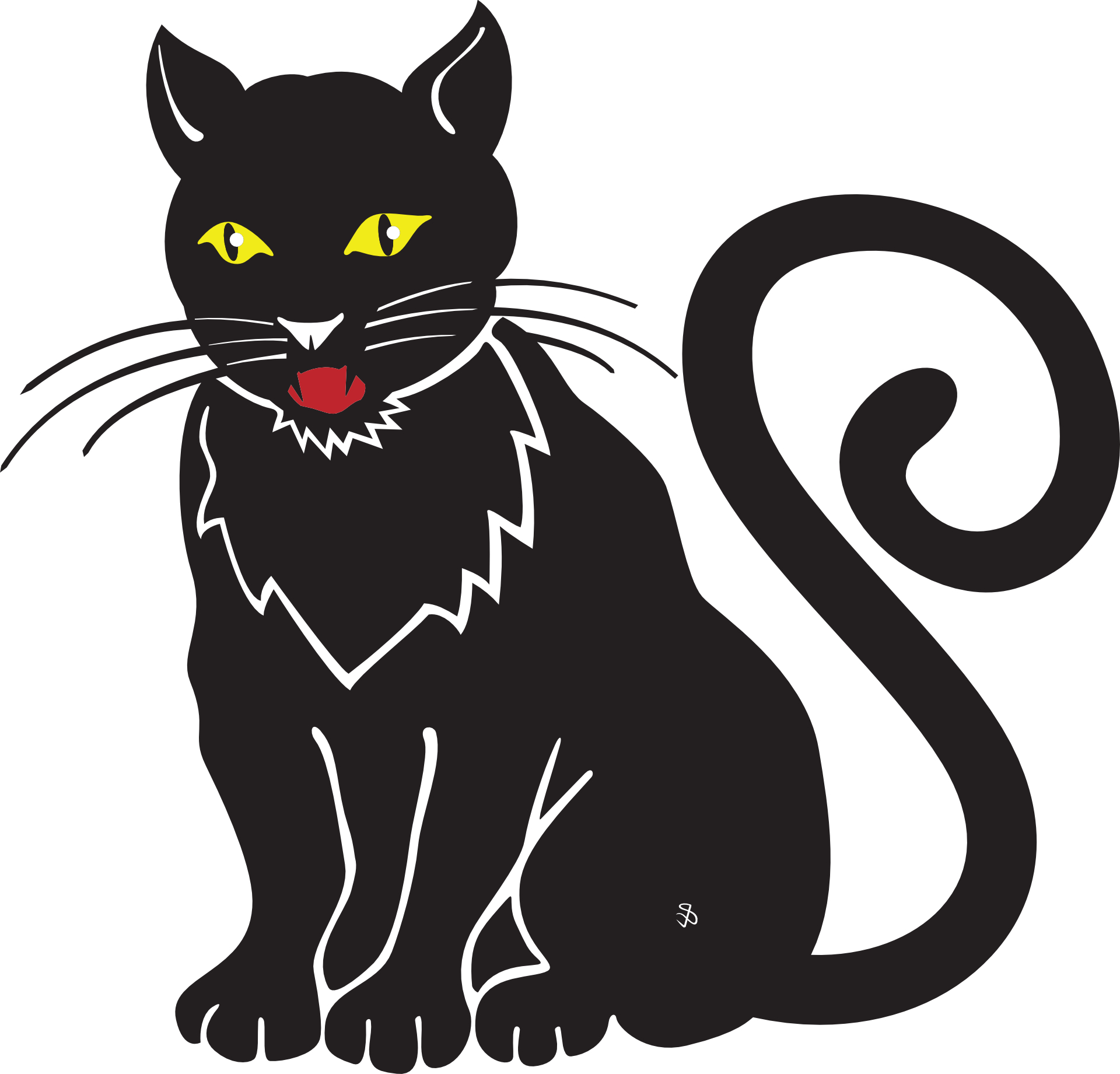 Cartoon animal-black cat,hand drawing vector