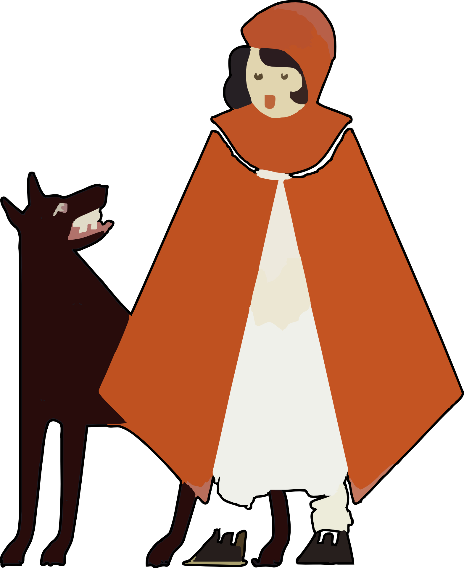 Cartoon little girl & wolf vector