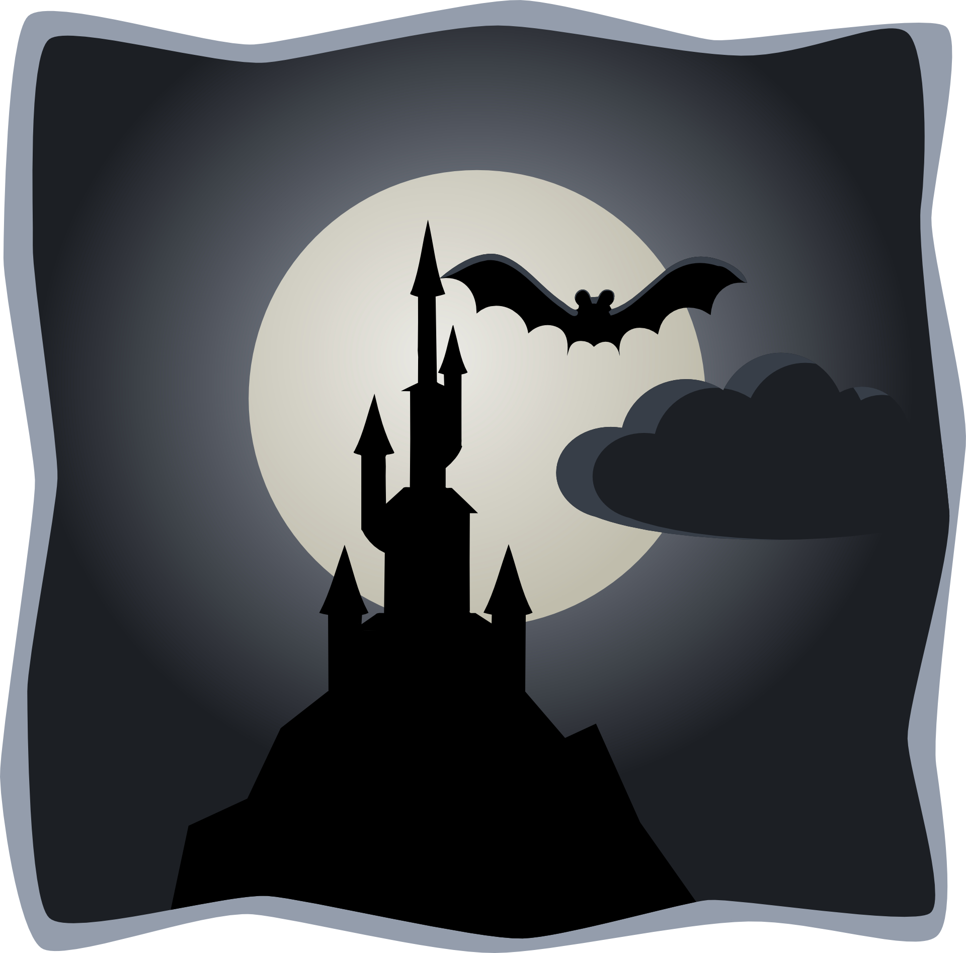Cartoon ngiht outline drawing,moon,bat silhouette vector