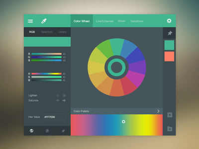 Color Picker Flat UI Design PSD For Free