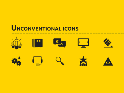 Cool Icon Set With Yellow Color (free vector)