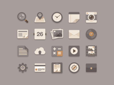 Flat Icons Brownie Theme free PSD