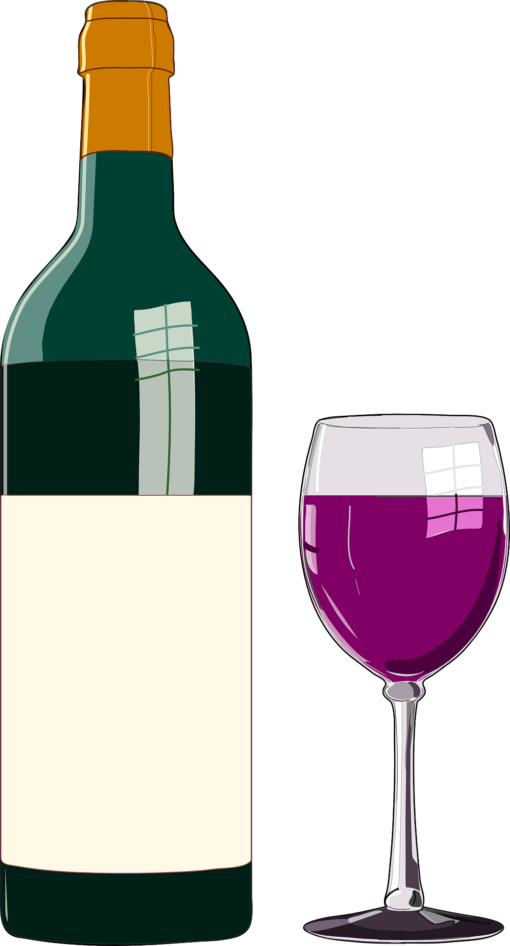 Glass cup-winebottle-drink vector