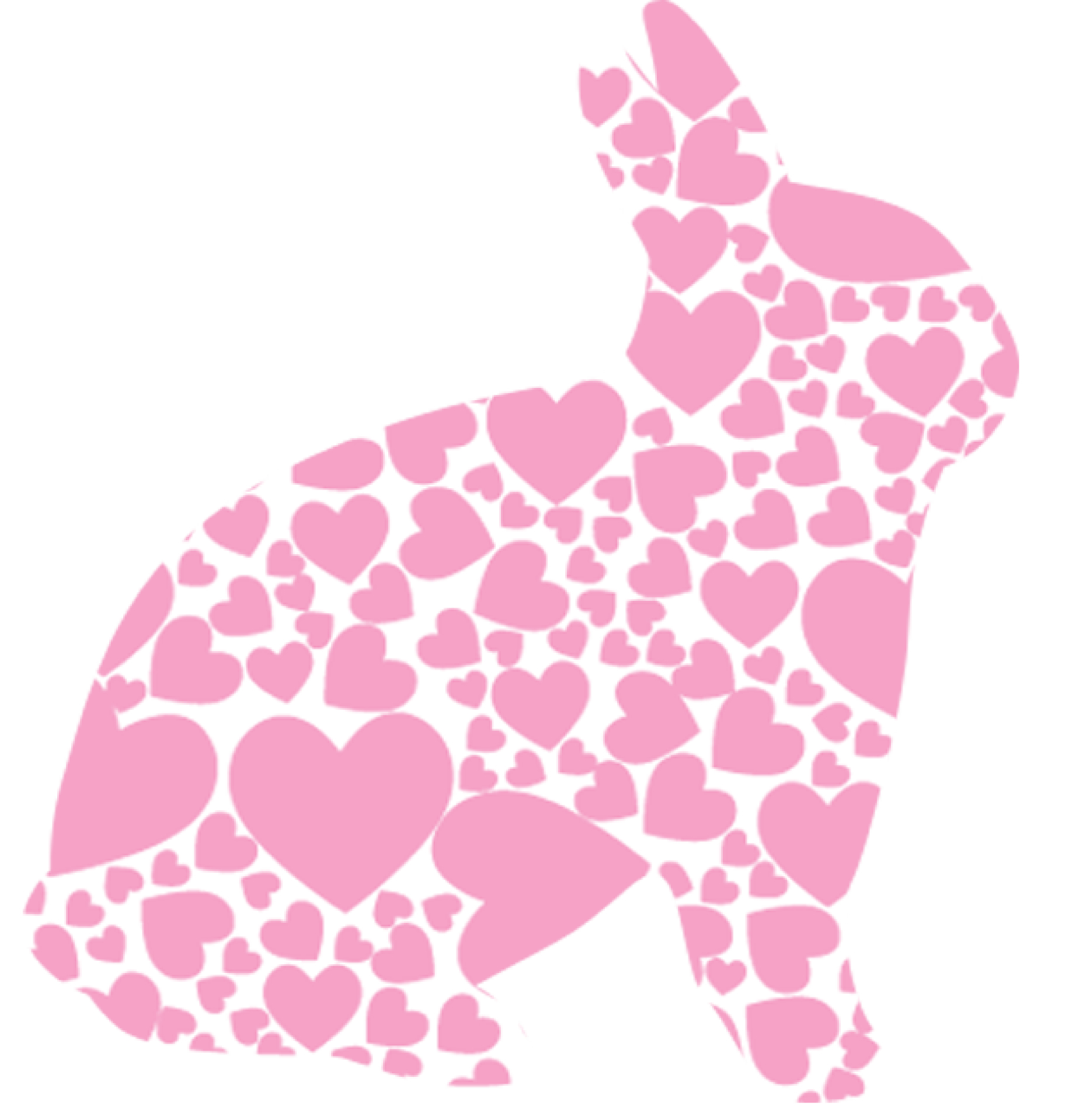 Heart-pink bunny silhouette vector