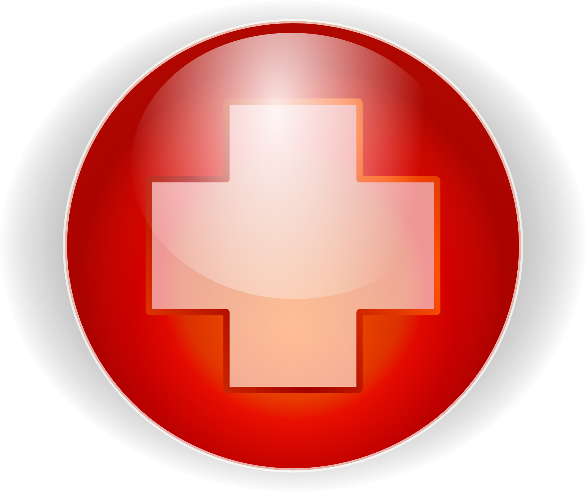 Red cross button ,plus,hallmarks of hospital vector