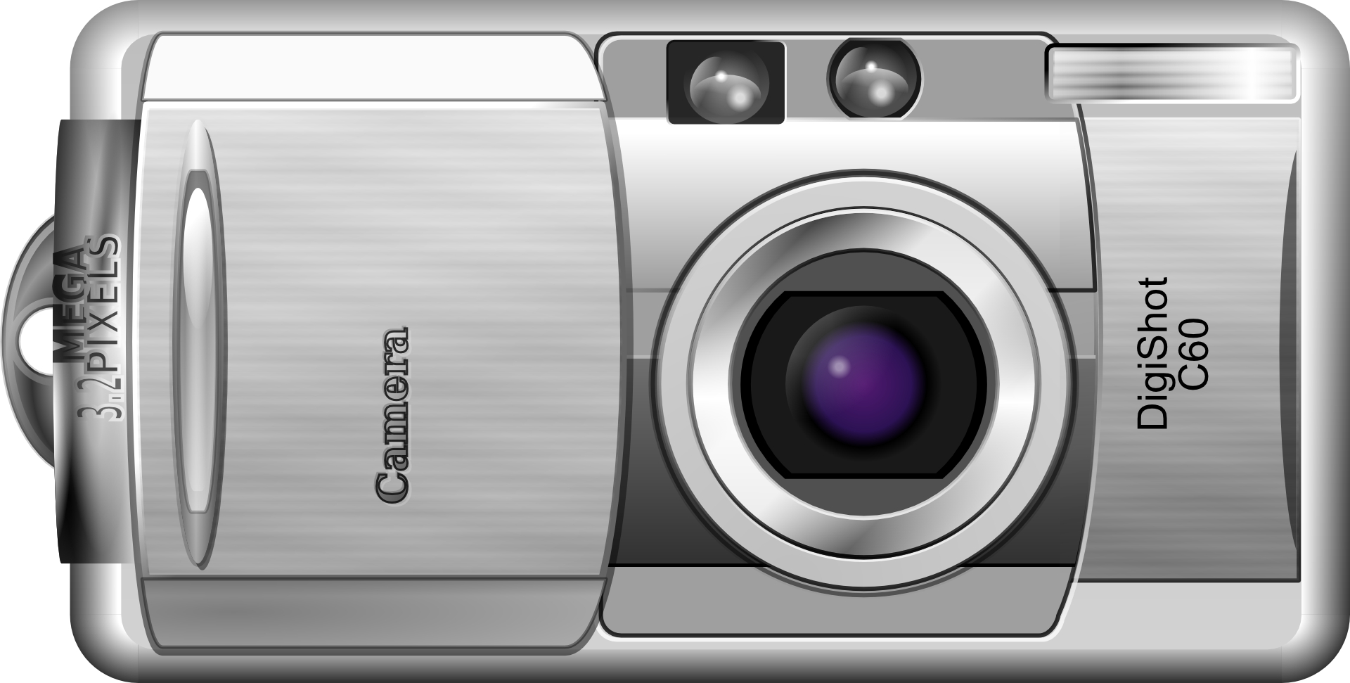 Silver grey digital camera vector
