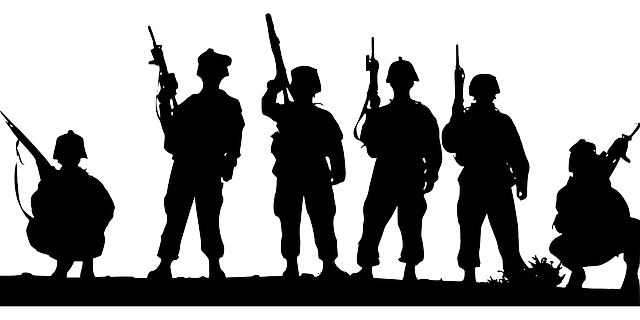Soldiers silhouette-outline vector