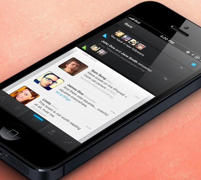 Twitter app user interface for iPhone 5 PSD