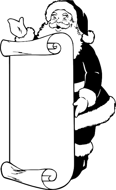 black white cartoon Santa Claus outline vector