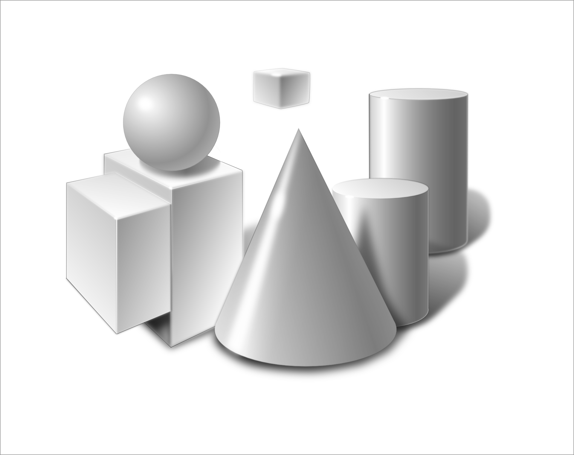 Cone, Cylinder, Sphere, Cube,Shadow Vector