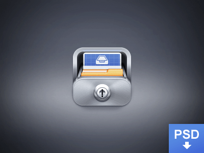 realistic,slick,blue,case icon,documents icon,folder icon,glossy icon,lock icon,metal icon,metallic icon