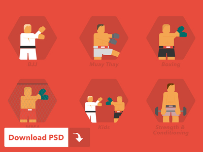 Free Martial Arts Icons PSD