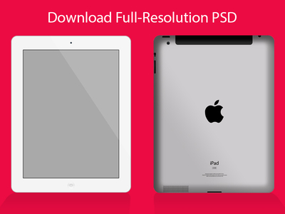 Free iPad Mockup Template PSD-Font and Back