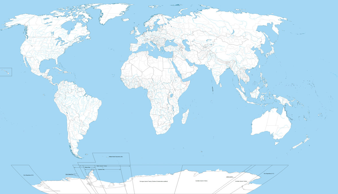 Map Of The World Countries No Words-blue white