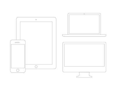 Phone Tablet Laptop Desktop Retina-Device Wireframes PSD