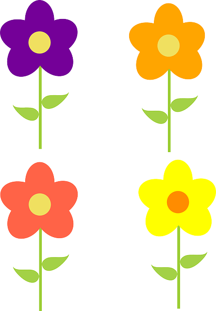 Yellow Orange Pink Purple Cartoon flowers vecto