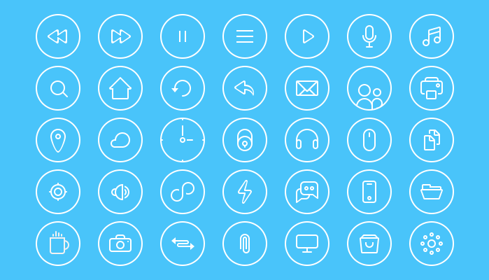 35 Clean Round icons PSD