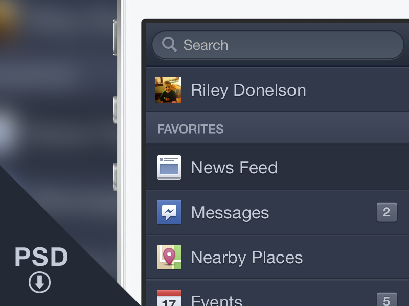 Facebook Side Menu iOS PSD