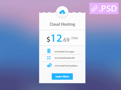 Free Hosting Price Table PSD