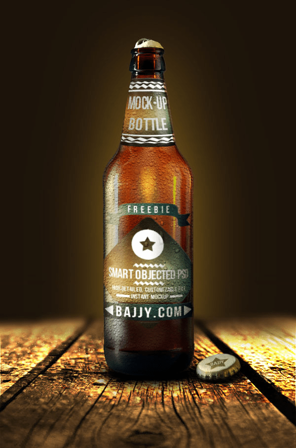 Free PSD Beer Bottle Mock-Up Template