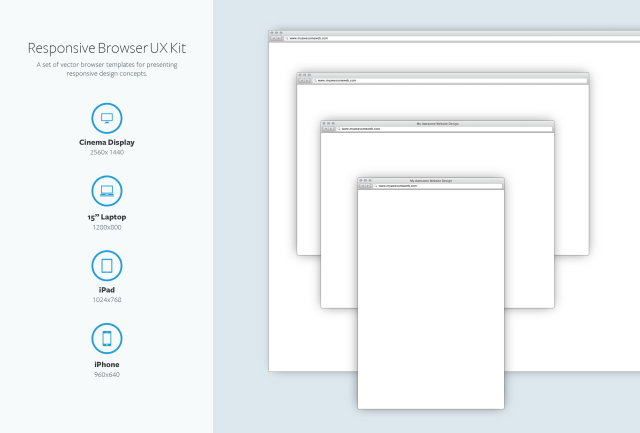 Vector Browser Templates UX Kit For Responsive Design